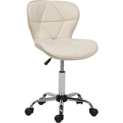 Bureaustoel met wielen beige kunstleer VALETTA