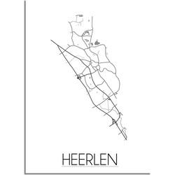 Heerlen Plattegrond poster - A2 + Fotolijst zwart