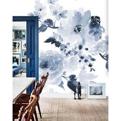 Zelfklevend behang XL Waterverf bloemen blauw 250x250 cm