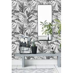 Zelfklevend behang Exotische planten zwart wit 60x275 cm