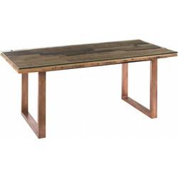 Industry eettafel - 190x90cm - verweerd hout + glas blad - metalen onderstel - koperkleurig