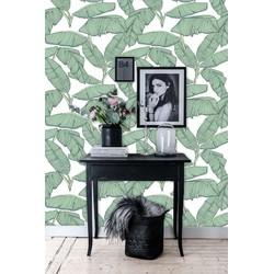 Zelfklevend behang Bananenblad groen-wit 60x122