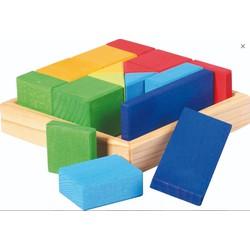 Blokkendoos Vierkant Vormenmix Hout - Glückskäfer