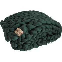Plaid Donkergroen (biologische wol) - Maat M - Blokken