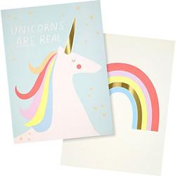 Meri Meri Unicorn & Rainbow Poster - Set van 2