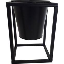Metalen Planten Pot/Houder-12x16cm-Zwart-Housevitamin