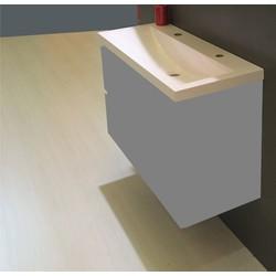 Saqu Studio wastafel 100x36cm 2 kraangaten wit