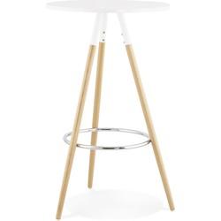 24Designs Sale - Ronde Bartafel Malva - Ø65x101 Cm - Wit Tafelblad - Houten Poten