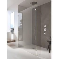 Ben Tess Zijwand met hoek 30-130x200x30 cm RVS-look / Helder Glas