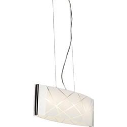 Modern Pendant Lamp Chrome with Ornate Glass Shade - Tabby