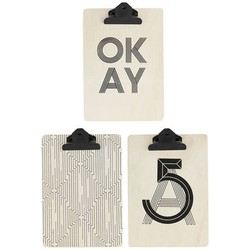 House Doctor Small Thoughts Clip board - / Set of 3 - A5 Size. Black,Sky blue,Natural wood