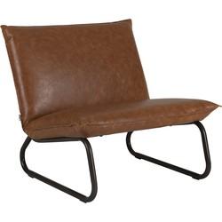 24Designs Yarra Lounge Fauteuil - Cognac Leer - Metalen Frame