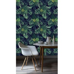 Vliesbehang Exotische planten groen zwart  60x244 cm