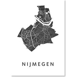 Kunst In Kaart Nijmegen Poster 50 x 70 cm - Wit