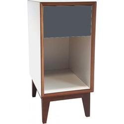 PIX nachtkastje klein met wit frame en grijs voorkant