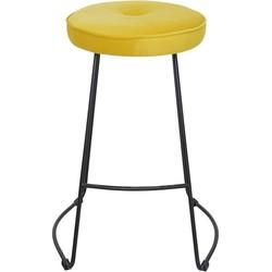 Set van 4 barkrukken - Bristol barkruk - velvet geel