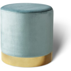 Fluwelen poef Beau groen met goud - Lifa Living - 38 (diameter) x 38 (hoog)
