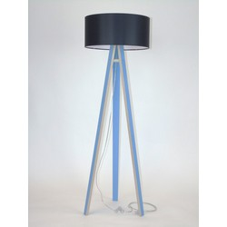 Lamp Wanda blauw multiplex met zwarte kap en transparante kabel