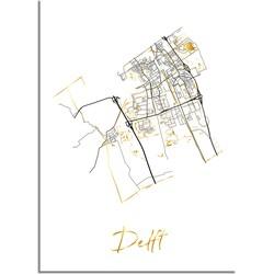 Delft Plattegrond Stadskaart poster met goudfolie bedrukking - A4 + Fotolijst zwart
