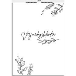 Verjaardagskalender bloemen zwart wit DesignClaud - A4 formaat