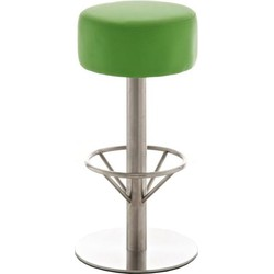 24Designs Barkruk Tessa - Zithoogte 85 Cm - Mat RVS Onderstel - Kunstleren Zitting - Groen