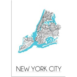 New York City Plattegrond poster - A4 poster zonder fotolijst
