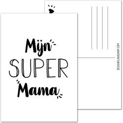 Super Mama ansichtkaart zwart wit - DesignClaud