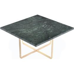 OxDenmarq Salontafel Ninety - L60 X B60 X H30 - Messing Onderstel - Groen Marmer