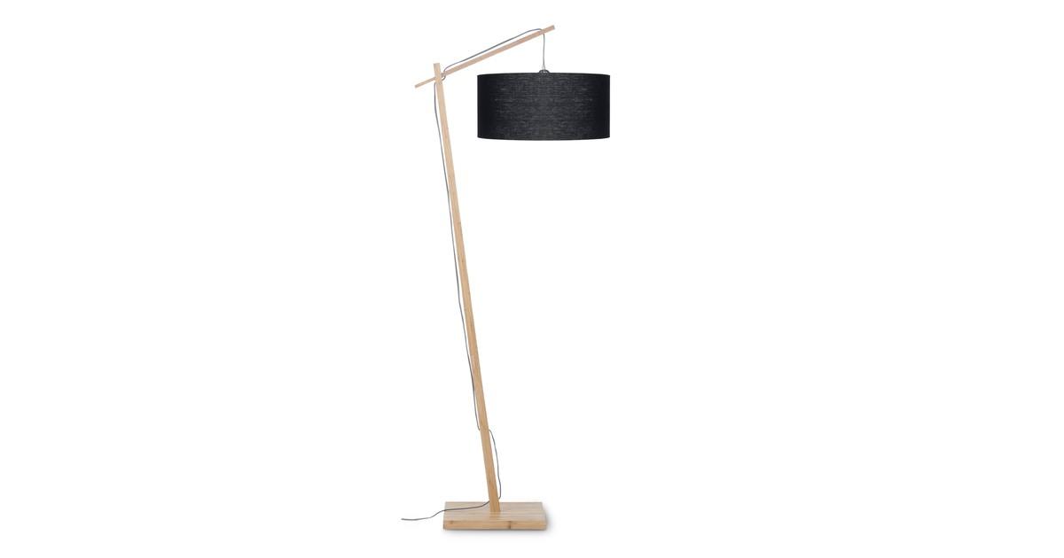 Vloerlamp Andes bamboe, linnen zwart