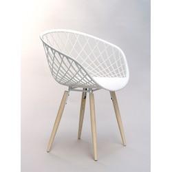 24Designs Stoel Sidera Chair Wood - Houten Poten - Witte Zitting