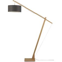 Vloerlamp Montblanc bamboe 4723, linnen donkergrijs