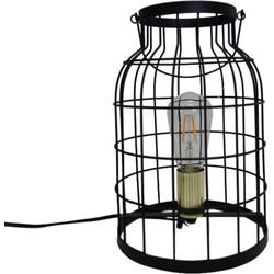 Zwart Metalen Kooi Lamp-20x31cm-incl. gloeilamp- gouden fitting-Housevitamin