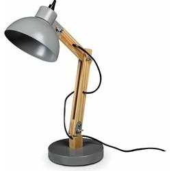 Lanterfant® Lamp Martijn - Bureaulamp - Hout- Staal - Lichtgrijs