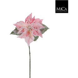 Mica Decorations poinsettia maat in cm: 71 roze frosted