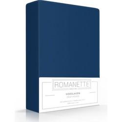 Romanette Hoeslaken Hoge hoek dblauw 100% Katoen 2-persoons 160x200