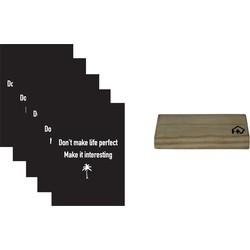 Kaarthouder+5 Kaarten A5 Make life interesting-10x15cm-Inclusief houten kaartenhouder naturel-Housevitamin