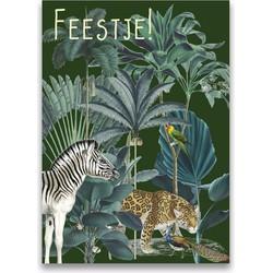 Kinderfeestje uitnodigingen Jungle Tijger Zebra DesignClaud - 12 Kaartjes