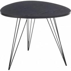 Retro - Bijzettafel - driehoek afgerond - zwart - hout - smeedijzer - 60x60x50cm
