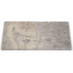 Travertine Silver Tumbled 20 x 20 x 1 cm