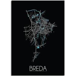 Breda Plattegrond poster Zwart - A4 poster zonder fotolijst