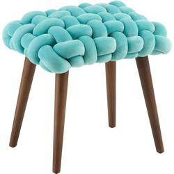 Velvet - Krukjes - set van 2 - turquoise blauw - fluweel zit - geweven - rechthoekig - houten pootjes