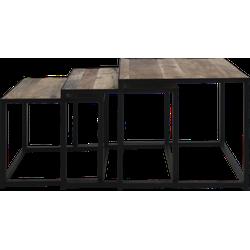 Salontafelset vierkant - set van 3 - mangohout/ijzer