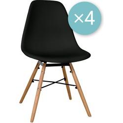 Zons - Set van 4 stoelen - Zwart
