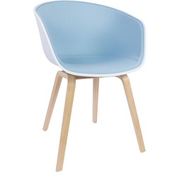 Hay About A Chair AAC22 Kuip: Wit Soaped Oak Front Upholstery Steelcut 2: 820 (Lichtblauw)