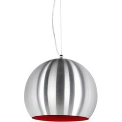 24Designs Hanglamp Cupido - Geborsteld Staal - Rode Binnenkant