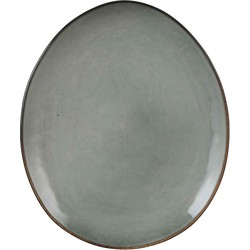 Mica Decorations tabo bord ovaal grijs maat in cm: 28,5 x 23,5
