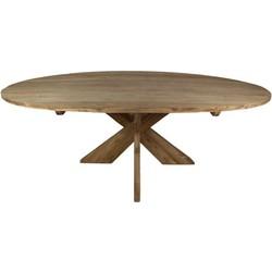 Ovale eettafel met kruispoot - 220x110 cm - blank