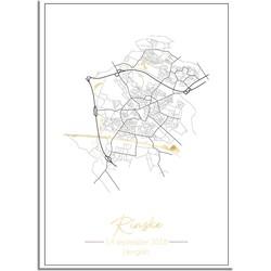 Geboorteposter Goudfolie / Zilverfolie / Koperfolie - Stadskaart - Geboorteplaats  - A4 + Fotolijst wit
