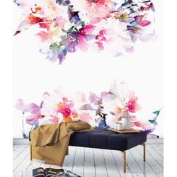 Vliesbehang XL Bloemen boven onder 250x250 cm