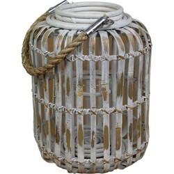 Capsule lantaarn bamboo wit klein